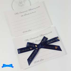 White pearl card and navy ribbon My favourite memory with the bride to be game cards