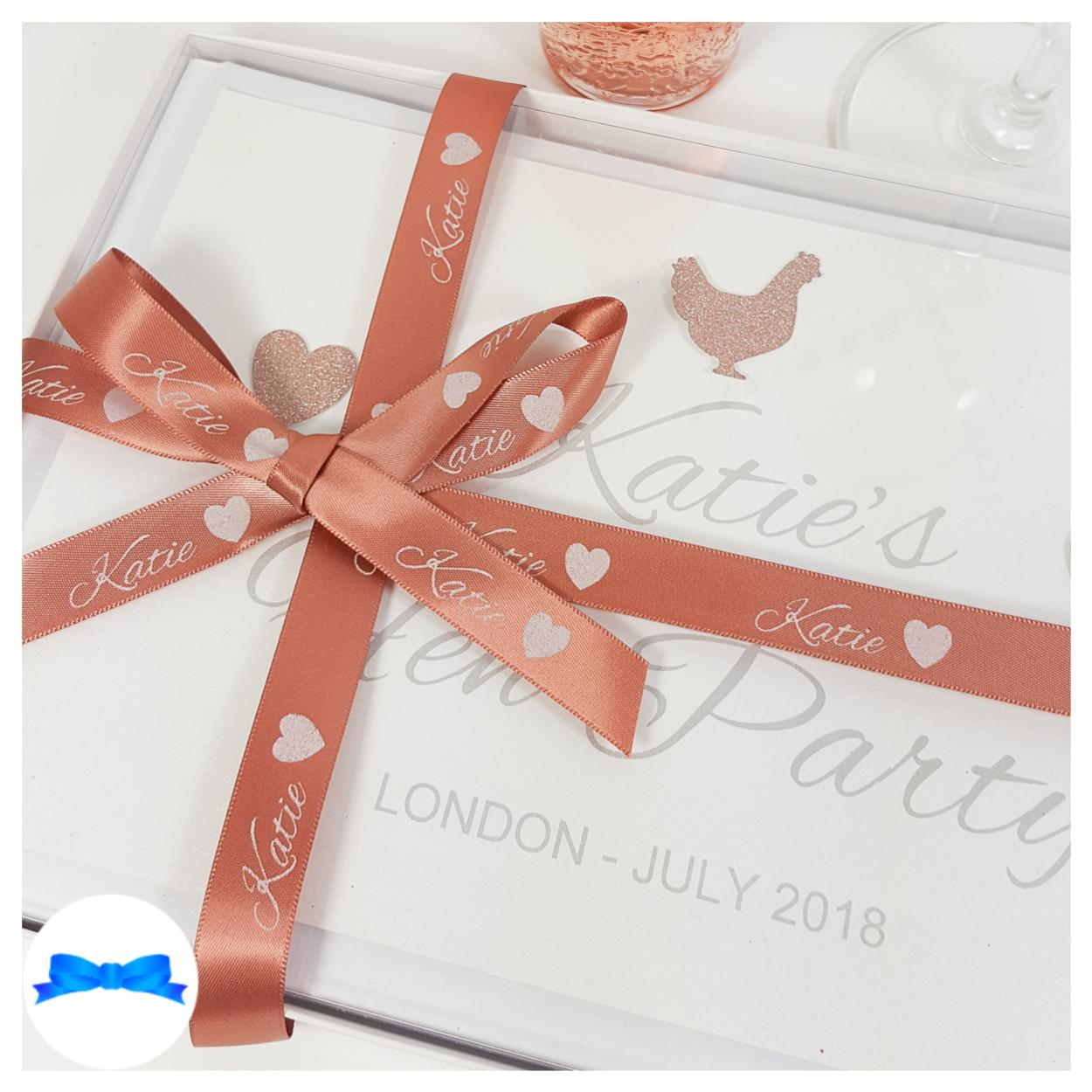 Rose gold ribbon and glitter colours