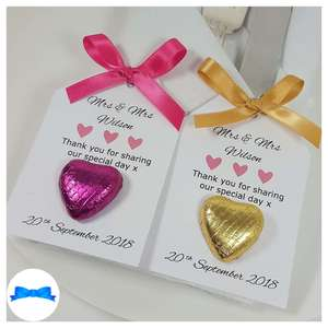 Pink and gold wedding favours