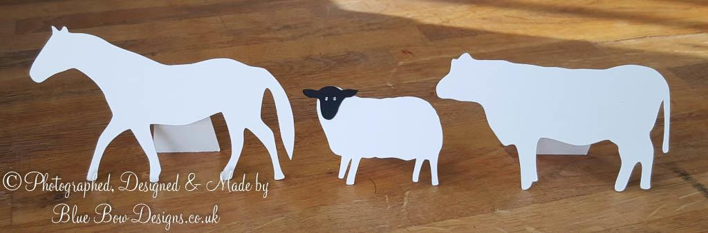 Horse sheep and cow shaped place cards