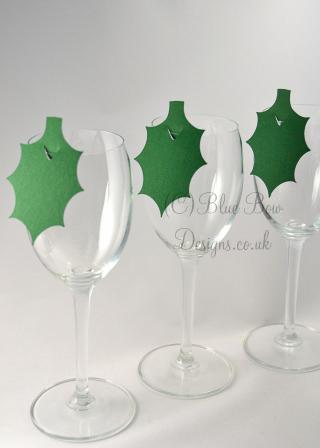 Holly leaf wine glass place cards