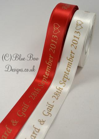 25 mm Red and gold printed ribbon and white and gold ribbon