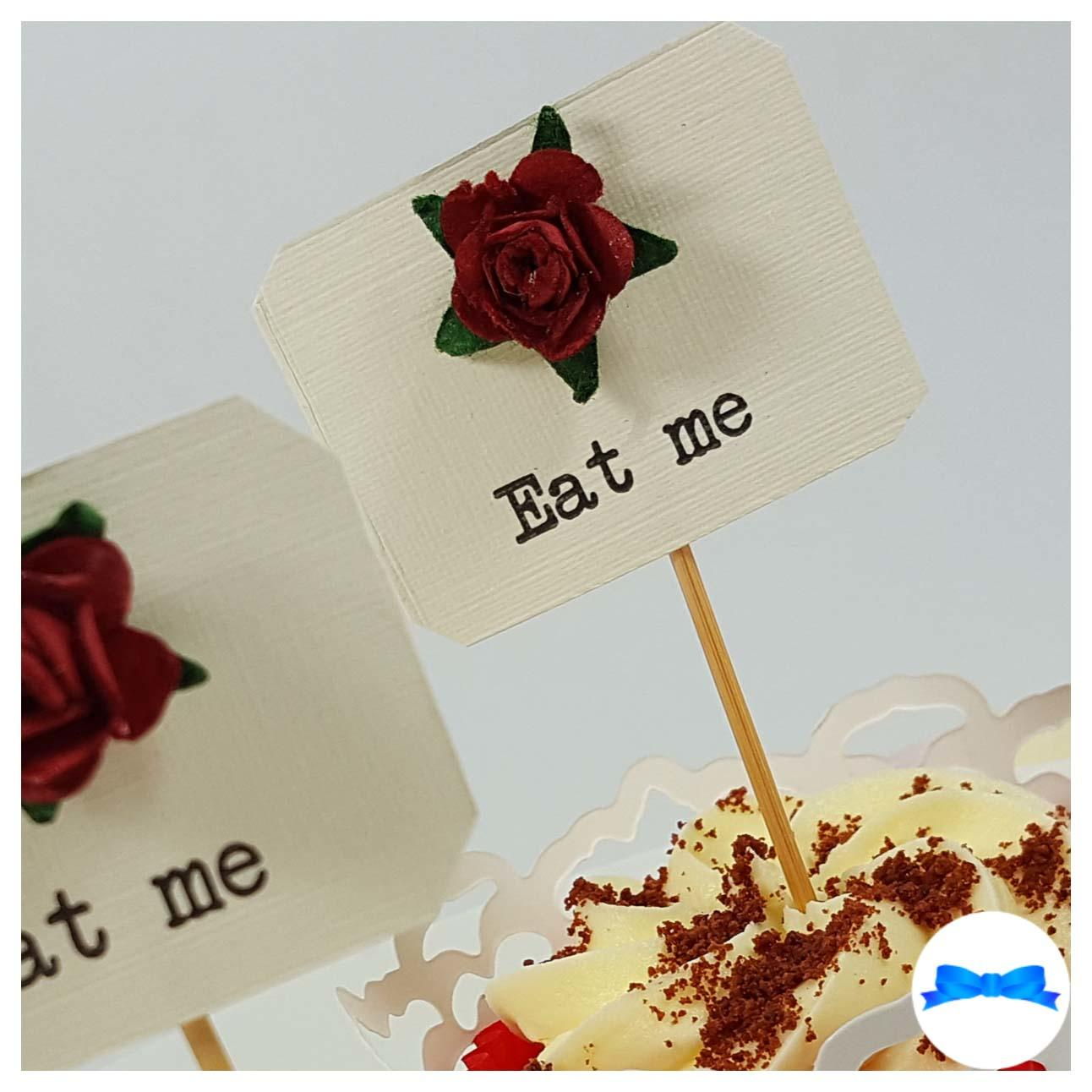 Red rose cake toppers Eat me
