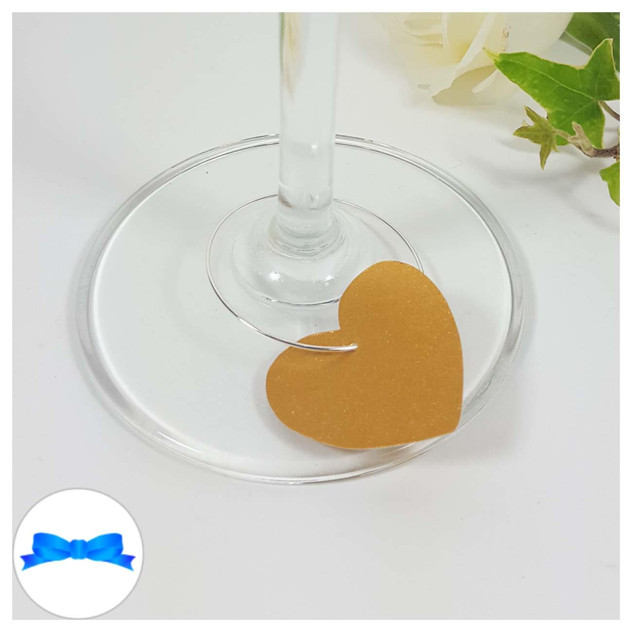 Gold heart shaped wine glass charm