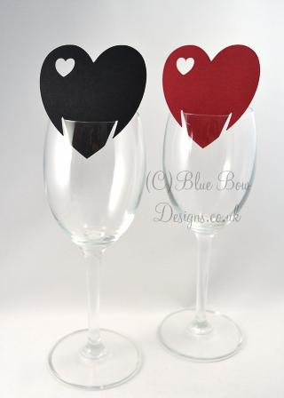 Heart shaped wine glass cards with additional heart cut outs