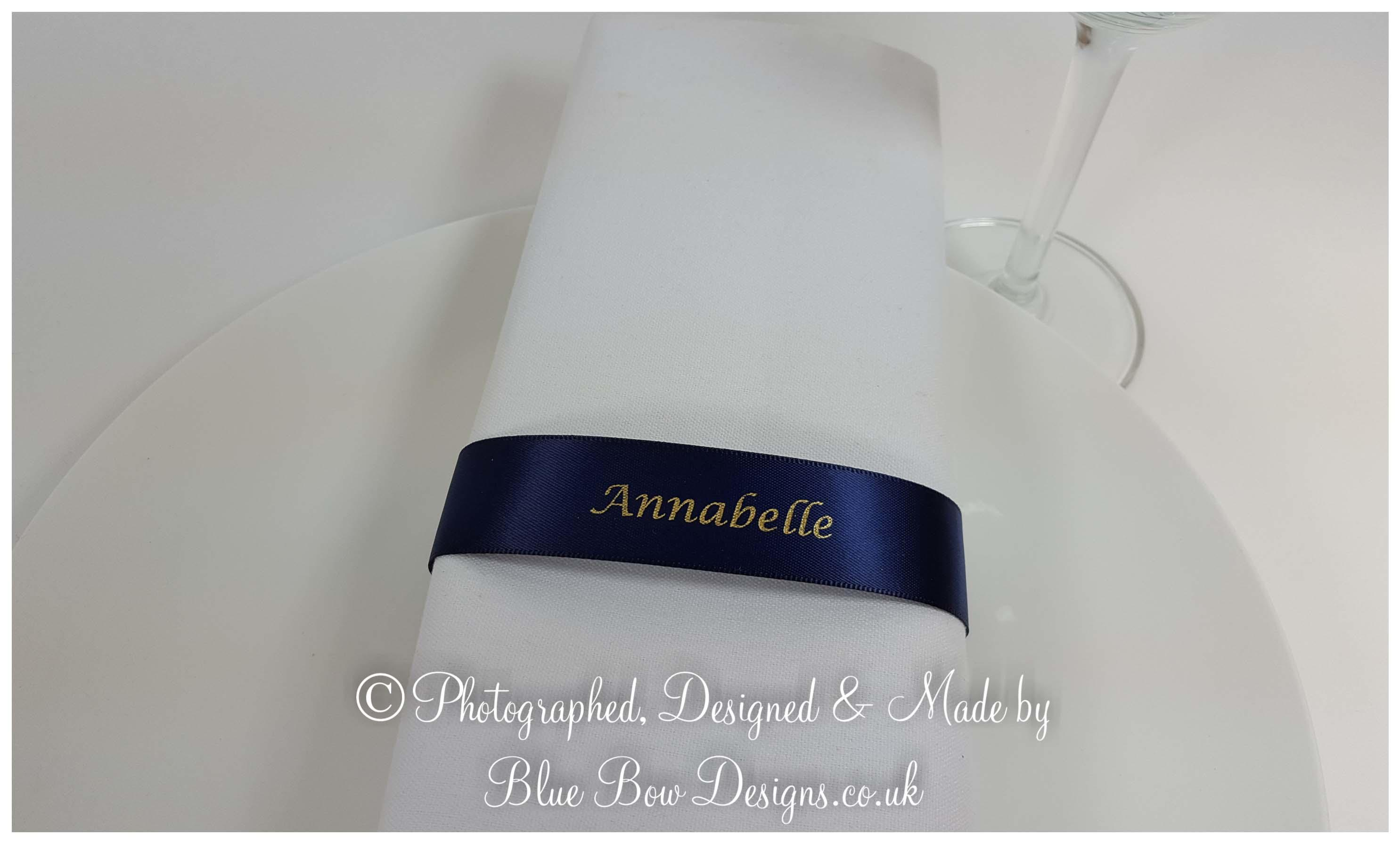 Navy and gold napkin guest name ribbon
