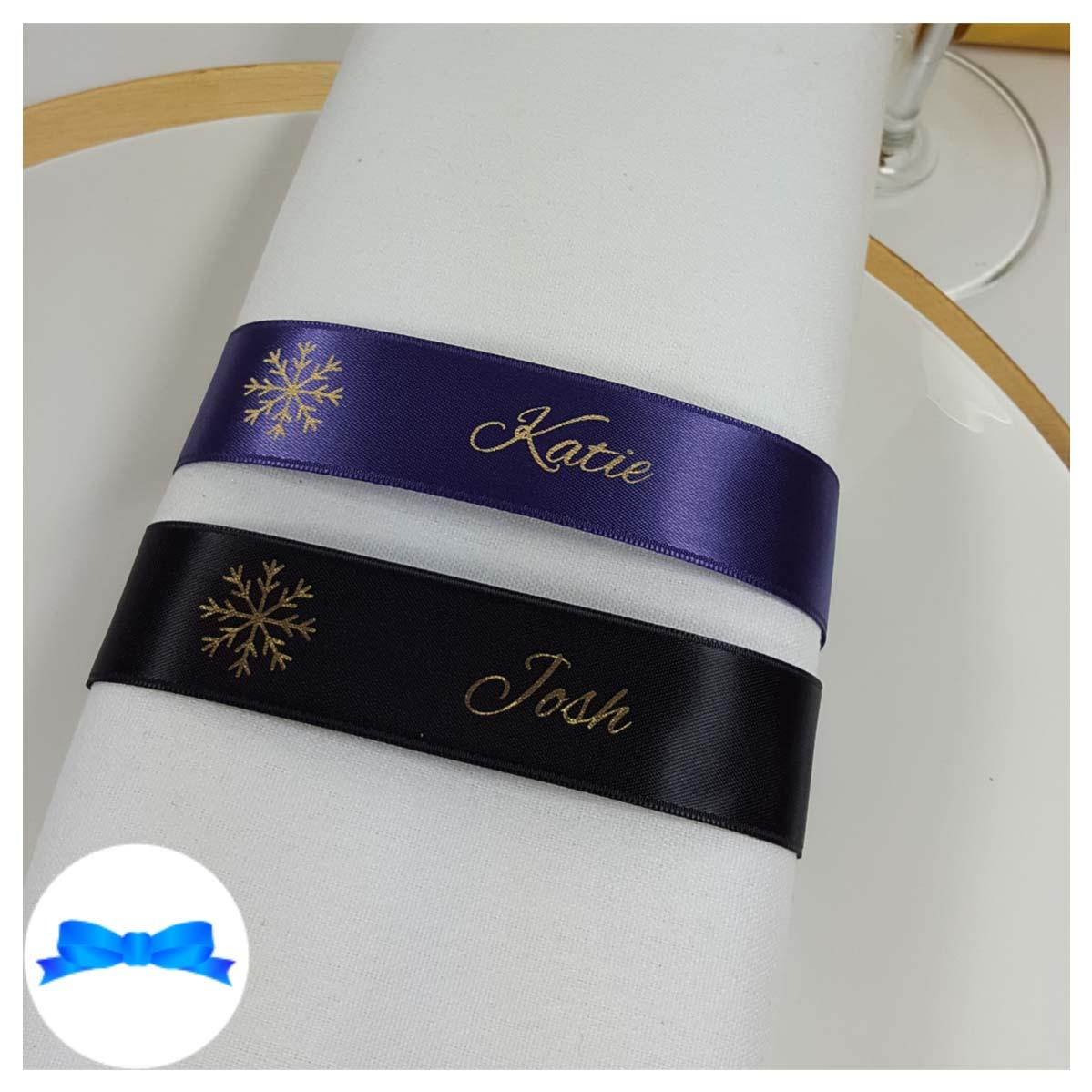 Regal purple and black and gold napkin guest name ribbon