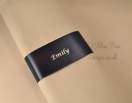 Navy and silver  45mm guest name napkin ribbons