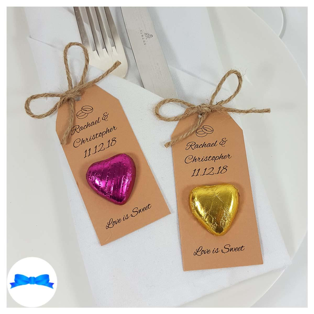 Rustic chocolate heart wedding favours