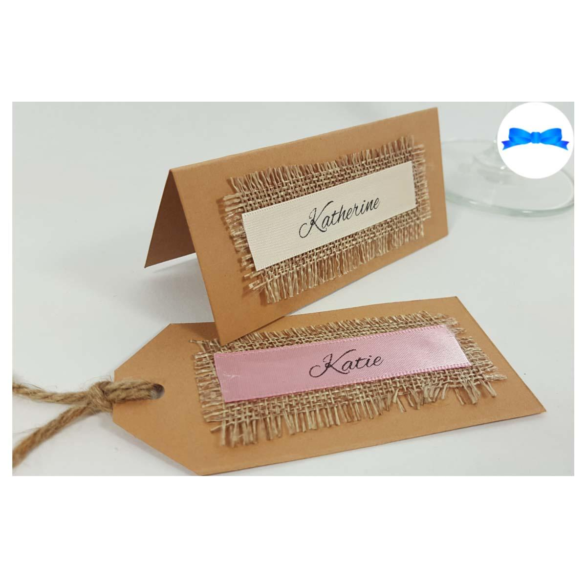 Rustic wedding place cards and tags. Kraft brown card and hessian