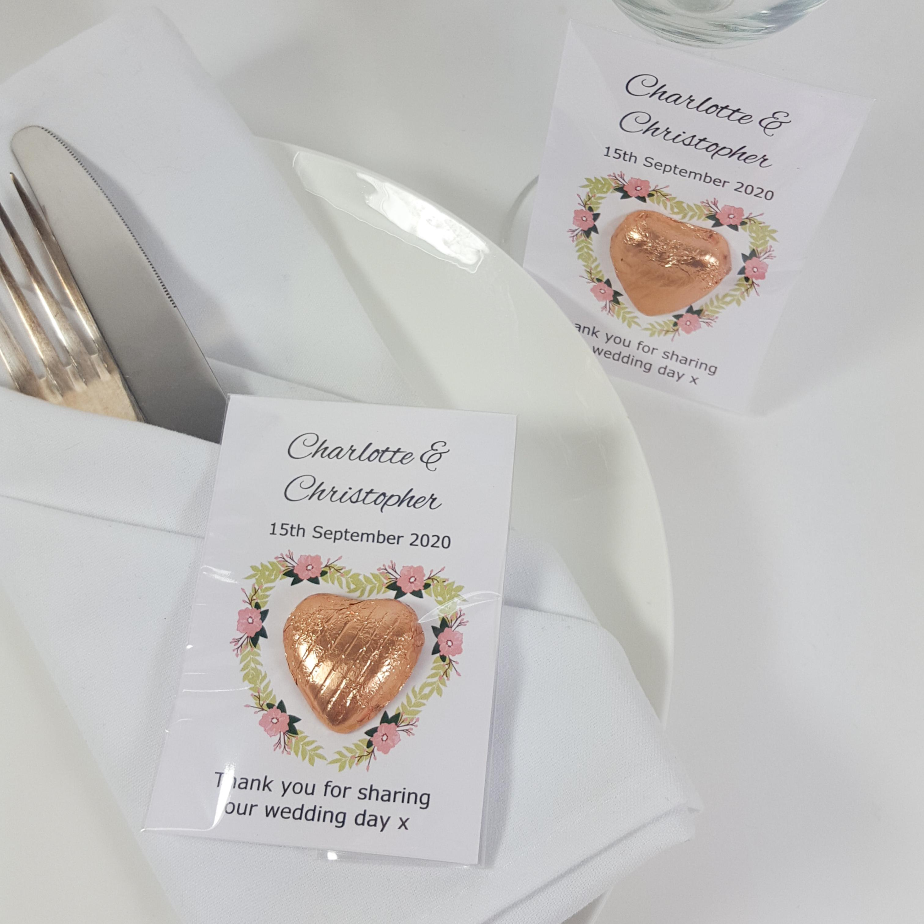 Rose gold wedding favours with flower heart design