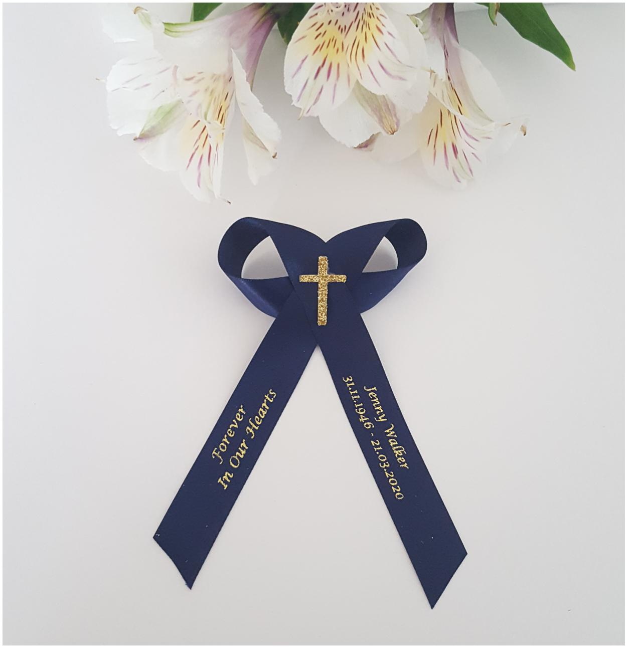 Navy blue memorial ribbons