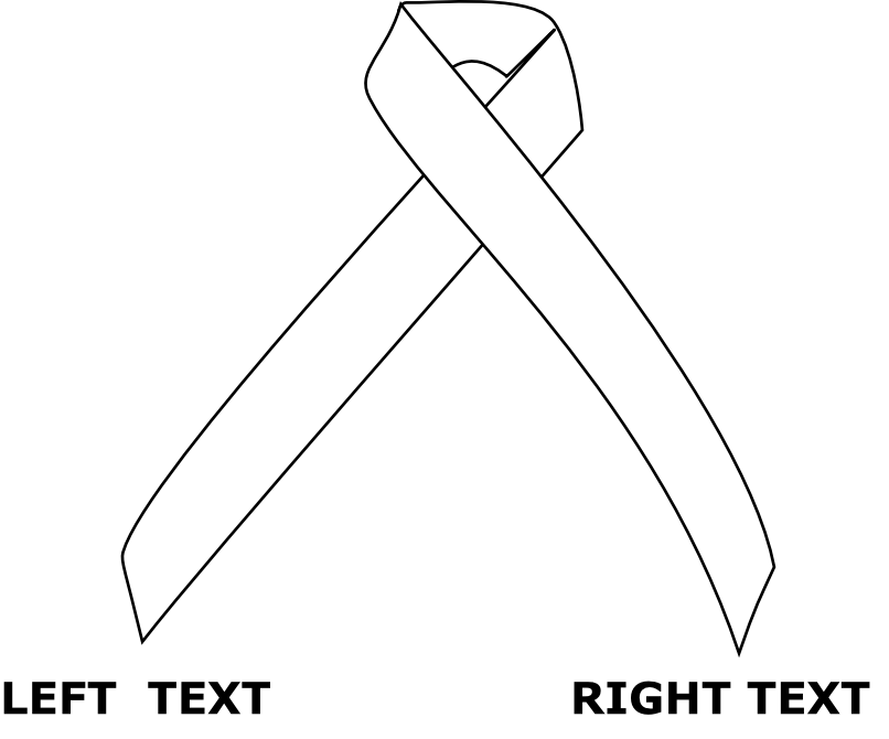 Left and right text for ribbon image