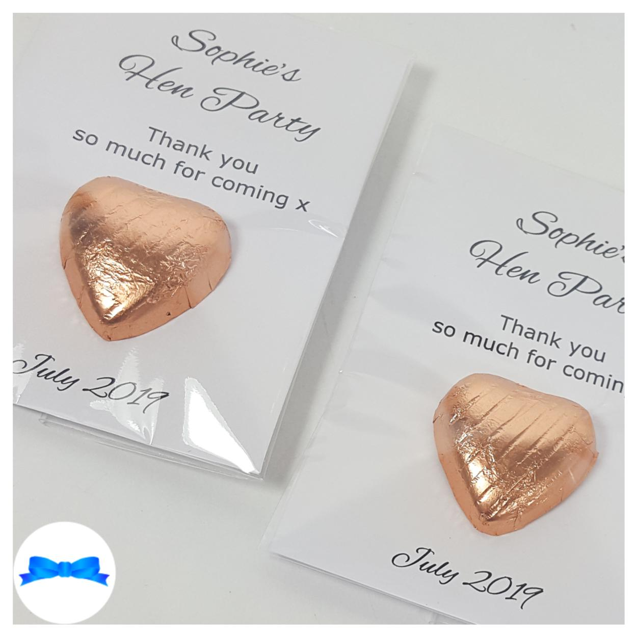 Personalised Rose gold Favours