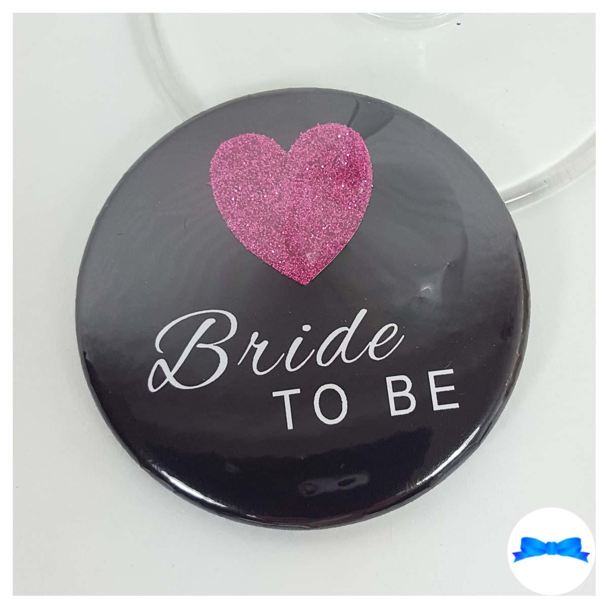 Bride to be Black hen party badges with purple glitter