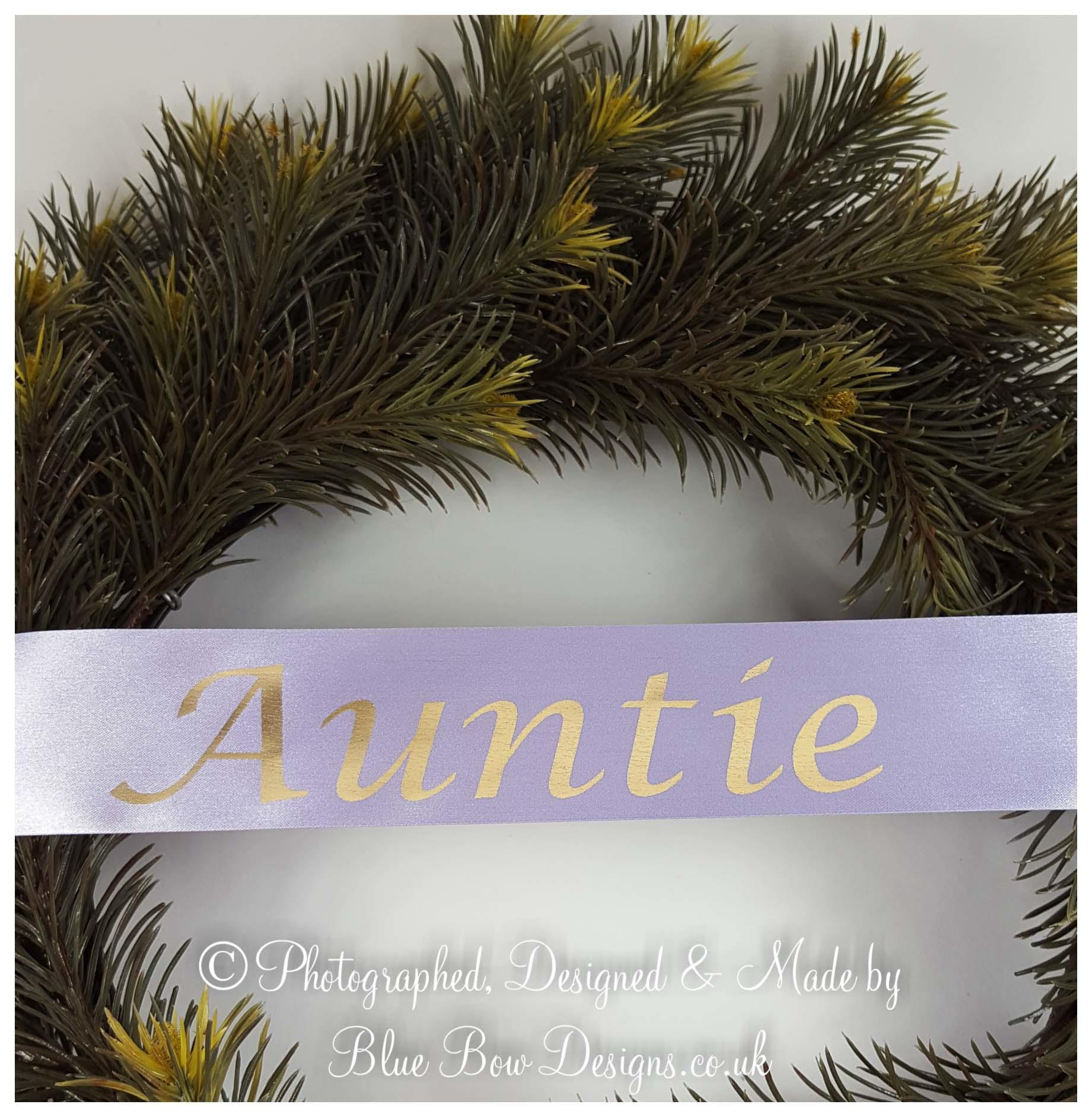Auntie ribbon gold and mauve