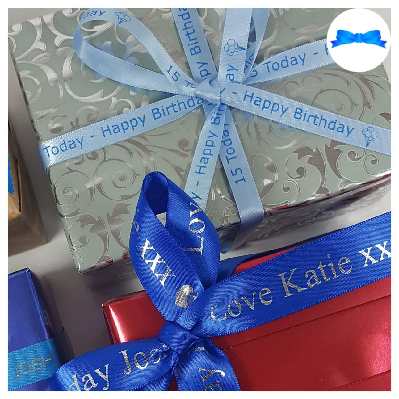 Blue 25 mm and 15mm personalised ribbon