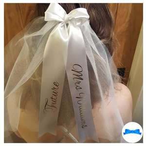 Personalised White and gold hen party veil