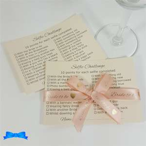Peach ribbon on ivory card hen party selfie challenge cards