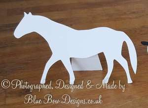 White horse shaped place card with backstand