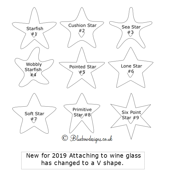 Star shapes available for wine glass place cards