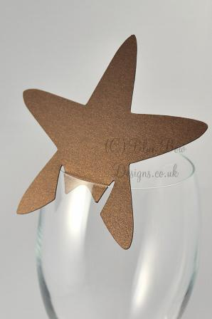 brown pearl bronze starfish place card