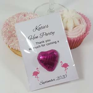 Flamingo hen party favours with pink heart