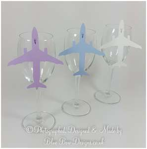Aeroplane Plane wine glass cards any colour