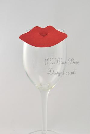 Lip wine glass place cards for weddings and dinner parties