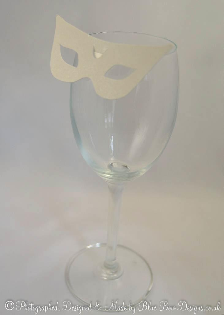 Ivory pearl wine glass mask place card No4.Cairo