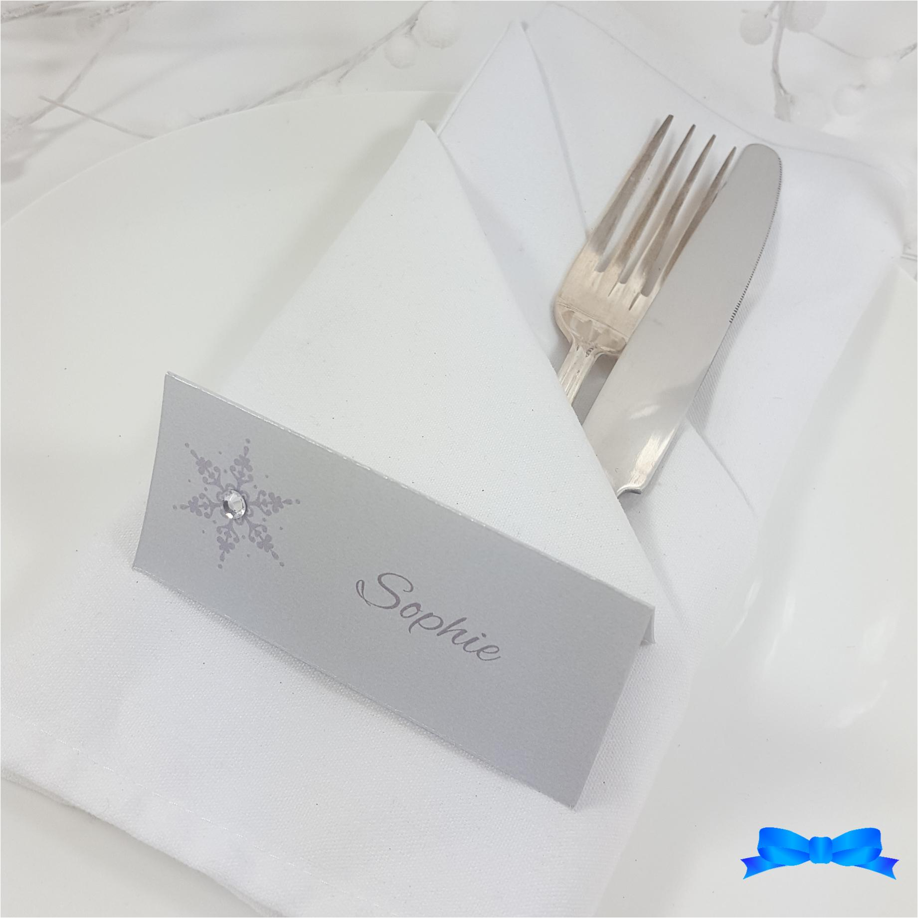 Silver Snowflake printed place card with diamante