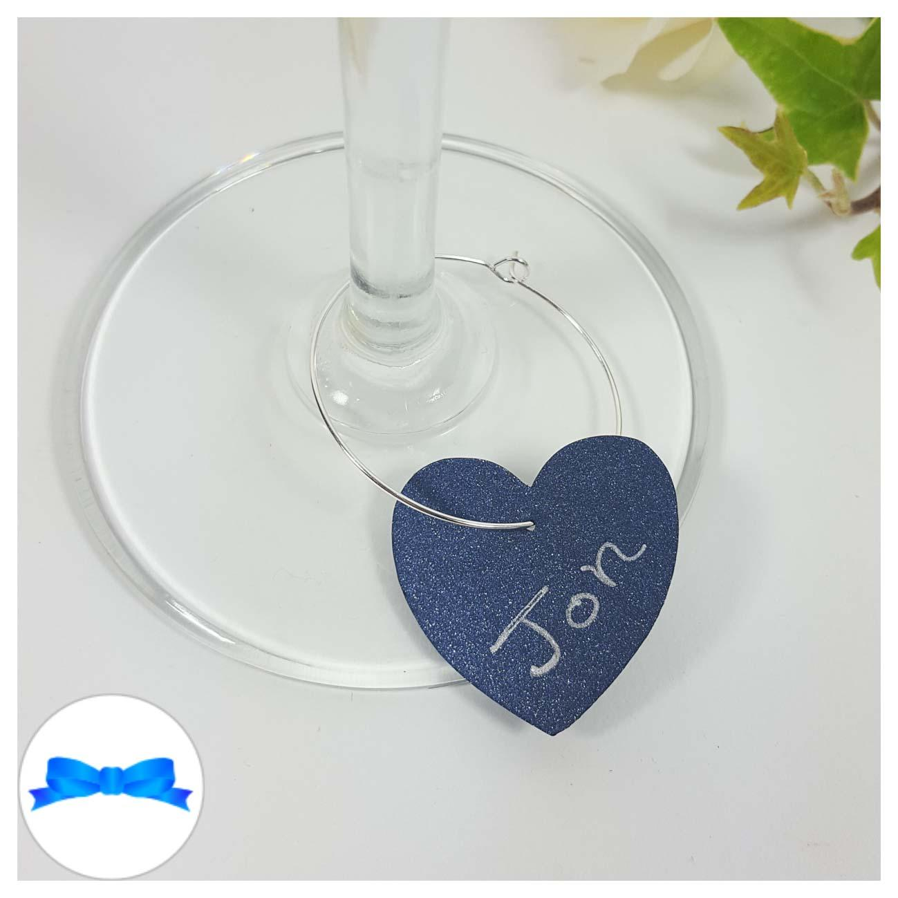 Navy blue heart shaped wine glass charm