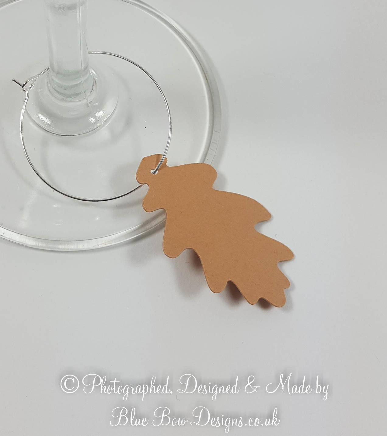 Card oak leaf wine glass charm