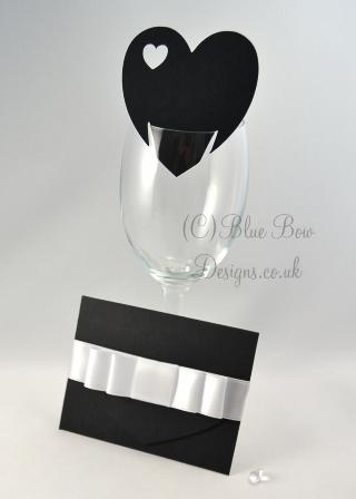Black Heart shaped wine glass card with additional heart cut out