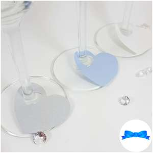 Silver and blue wine glass card heart stem labels