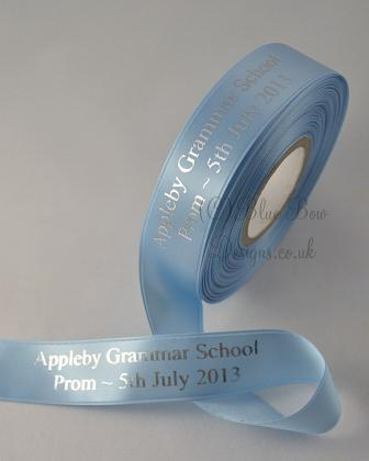 Personalised printed ribbon Baby blue and silver