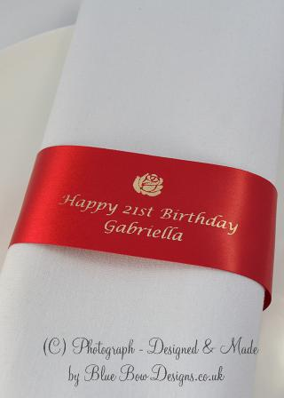 Personalised Birthday Red Napkin ring ribbons