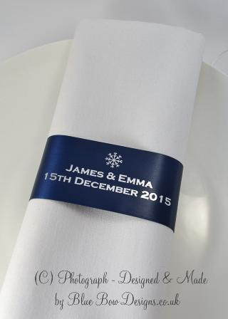 navy blue and silver napkin ribbons
