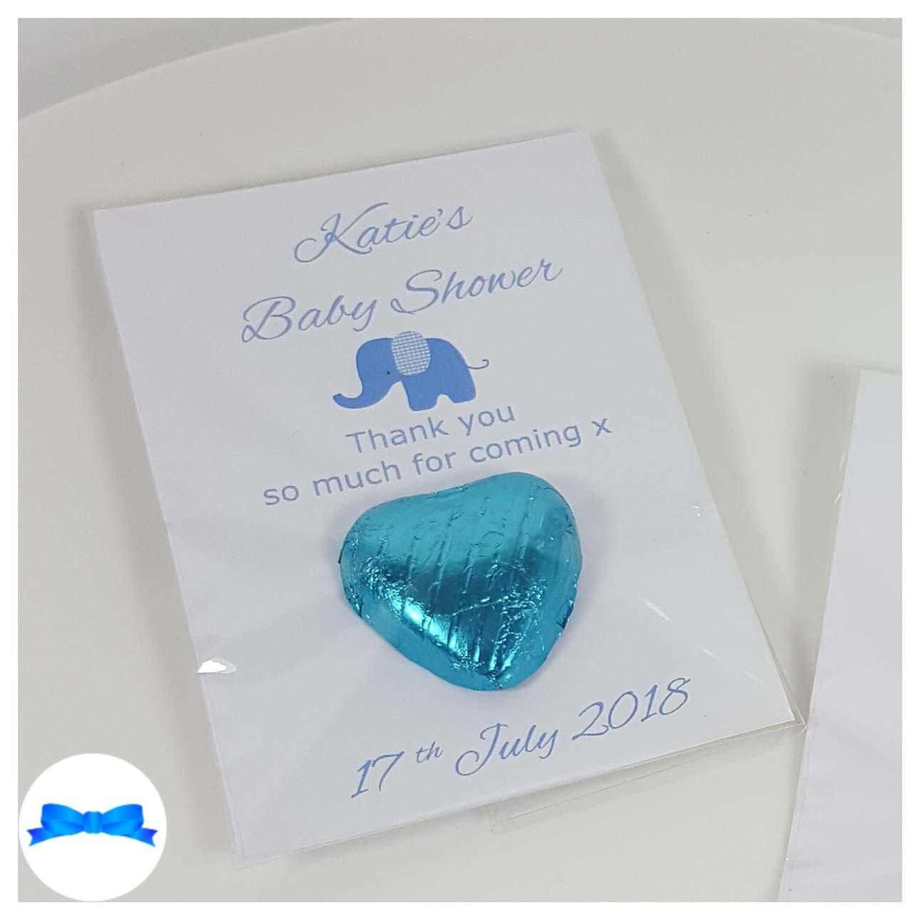 Baby shower chocolate heart favours with blue elephant