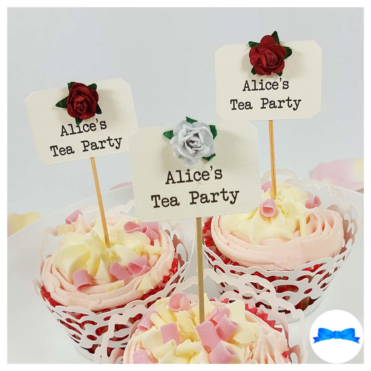 Hen party cupcake toppers with red roses