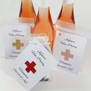 Personalised glitter hangover survival kit tags