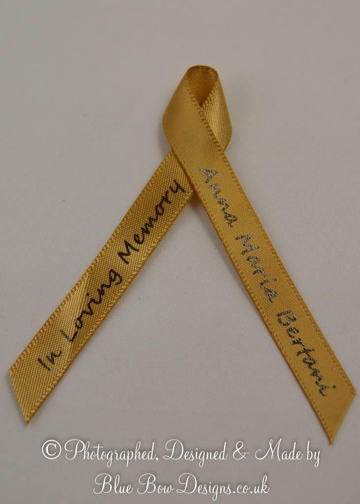 Antique gold memorial funeral ribbons