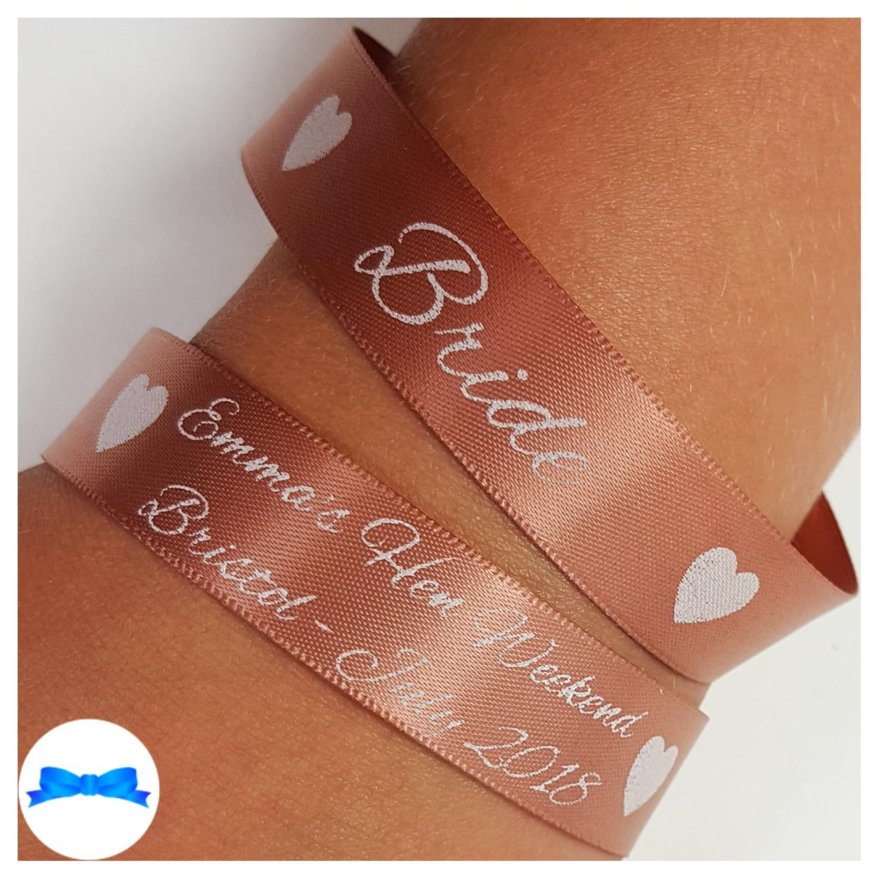 Personalised hen party wristbands