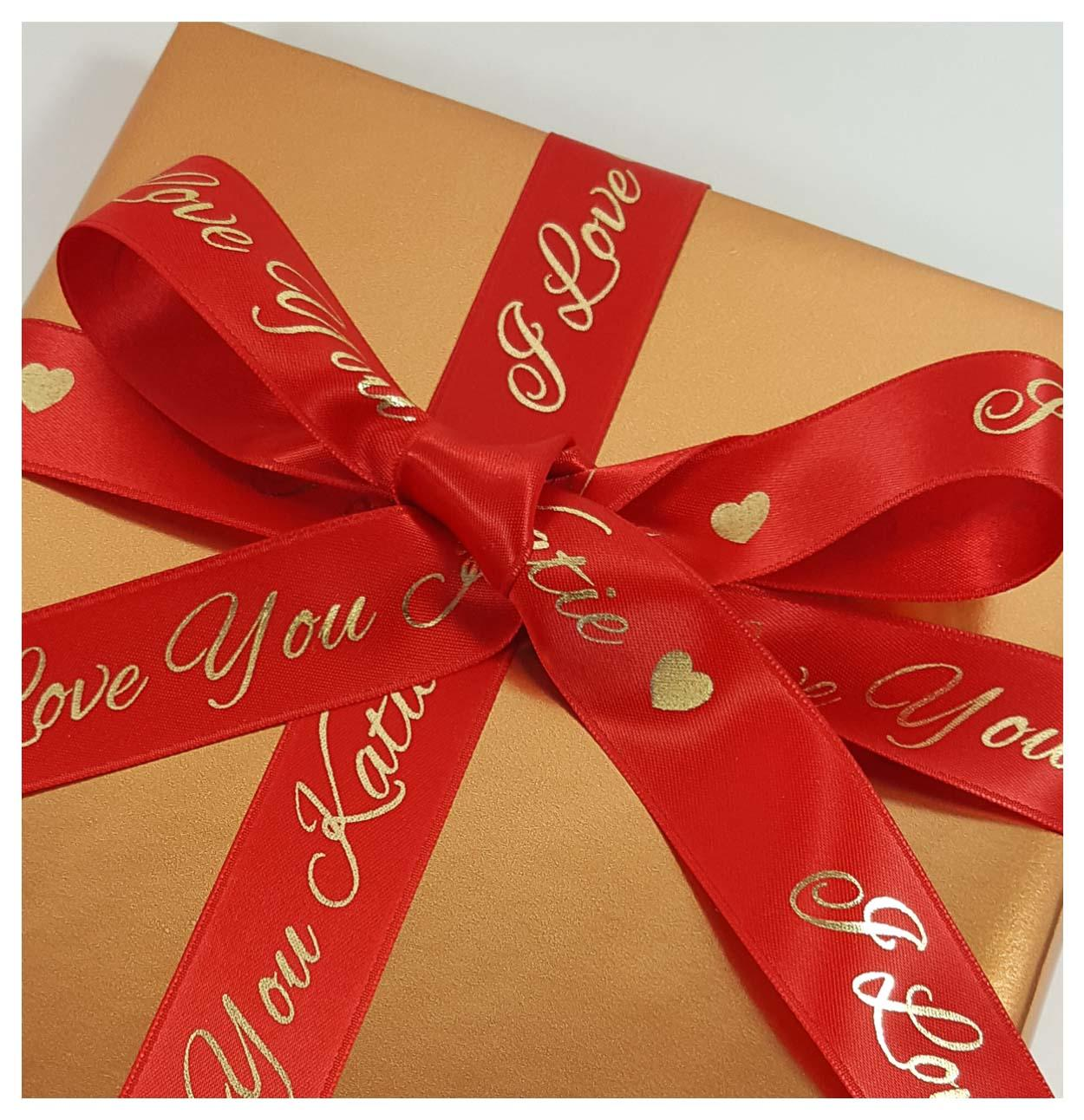 Red and gold 25 mm personalised ribbon