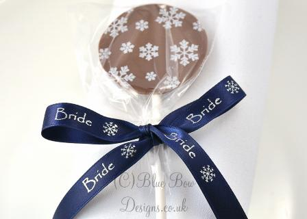 navy blue 10 mm personalised ribbon on chocolate lollipop