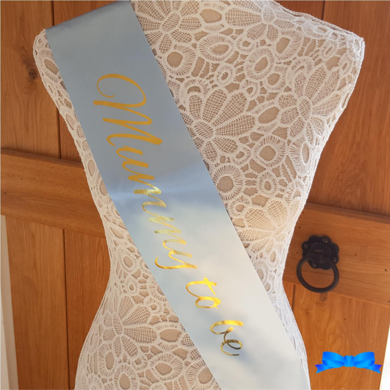 Blue mummy to be sash with heart badge with gold print for Baby shower
