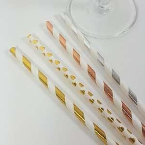 Metallic straws. gold stripe, rose gold and silver and gold hearts