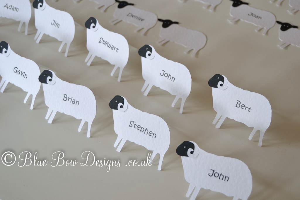 Printed names for sheep shaped place cards in hammered white card