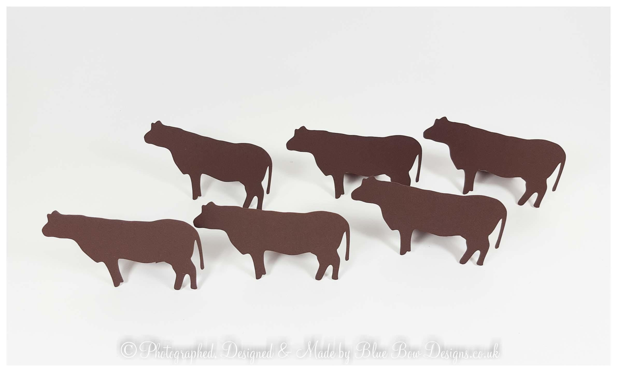 Brown cow shaped place cards