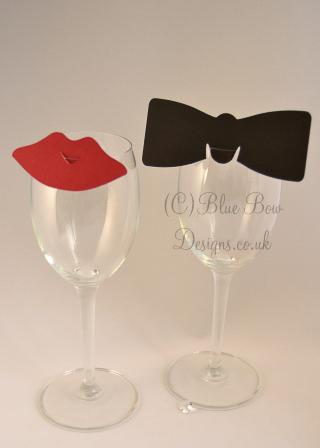 Lip wine glass place cards and bow tie place cards